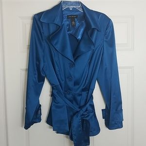 EUC Lane Bryant blue satin look trench style coat